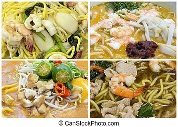 platos, singapur, collage, al sureste asiático, tallarines