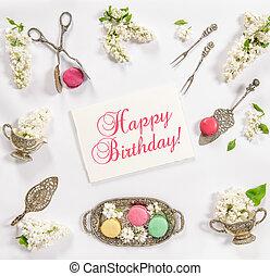 platos, vendimia, galletas, francés, cumpleaños, macarrón, feliz