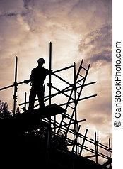 plats, byggnad, solnedgång, byggnadsställning, byggmästare