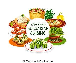 plats, cuisine, bulgare, dessert, légumes, viande