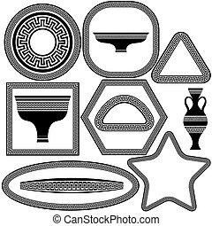 plats, grec, cadres, ensemble