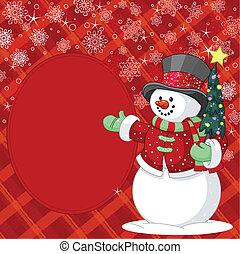 plats, jul, snögubbe, träd