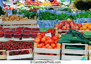 plats, marknaden, bönder