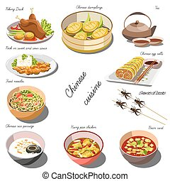 plats, nourriture chinoise, set., collection, cousine