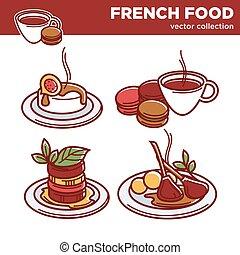 plats, nourriture, collection, vecteur, savoureux, francais, exquis