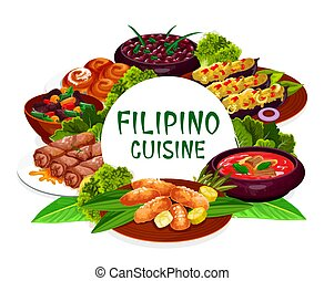 plats, rond, cadre, cuisine, philippin