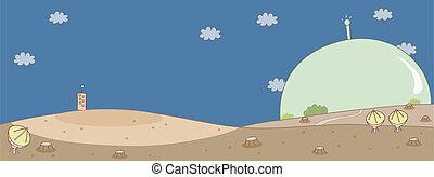 plats satellite, sur, paysage