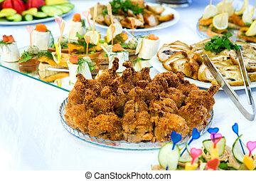 plats, sur, les, table banquet