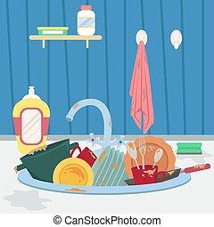 plats, towel., sombrer, sale, housework., cuisine