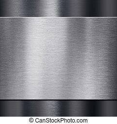 platte, aus, metall, abbildung, dunkel, metalic,...