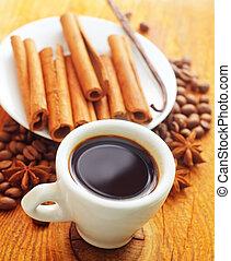 platte, bohnenkaffee, weißes, zimt