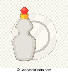 platte, dishwashing, flasche, flüssiglkeit, ikone