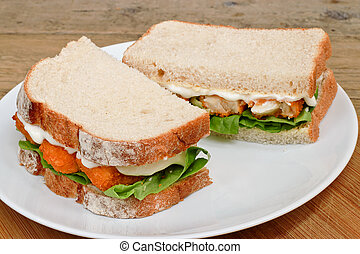 platte, fisch- sandwich, finger