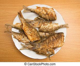 platte, fische, gebraten