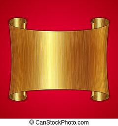 platte, gold, abstrakt, auszeichnung, vektor, hintergrund, rolle, rotes