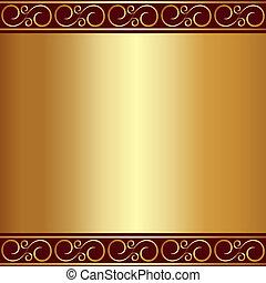 platte, gold, vignetten, abstrakt, vektor, hintergrund