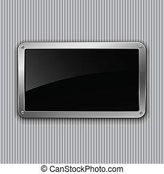 platte., illustration., vektor, schwarz, glänzend, eps10