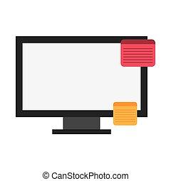 platte lichten computer beeldscherm door, pictogram