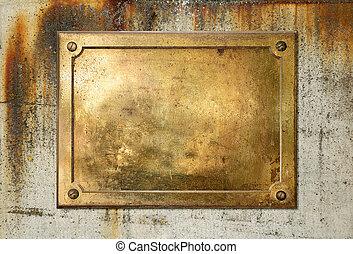 platte, messing, umrandungen, metall, gelber