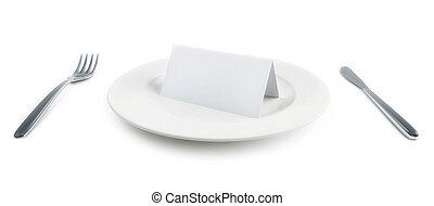 platte, papier, freigestellt, karte