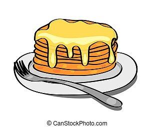 platte, pfannkuchen, lieb, -, honig, vektor