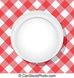 platte, picknick, vektor, rotes tischtuch, leerer