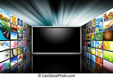 platte scherm tv, met, beelden