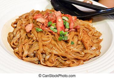 platte, schweinefleisch, nudel, lebensmittel, malaysier, /, gebraten, soja, gebraten, soße, rotes