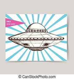 platte, skizze, ufo