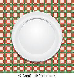 platte, tischtuch, vektor, picknick, leerer