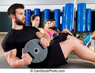 platte, training, abdominal, kern, turnhalle, gruppe