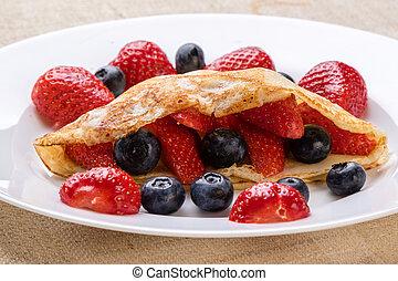 platte, weißes, fruechte, pfannkuchen