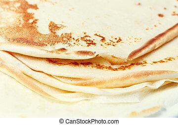 platte, weißes, pfannkuchen, lieb