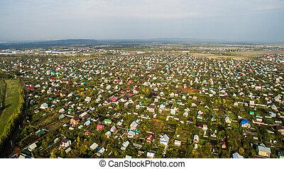 platteland, herfst, luchtopnames, russische , aanzicht