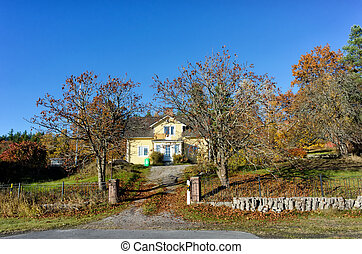 platteland, huis binnen, zweden