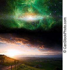 platteland, ondergaande zon , landscape, met, planeet, in, avond lucht, communie, van, dit, beeld, gemeubileerd, door, nasa.gov