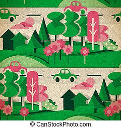 platteland, ouderwetse , seamless, figuren, model, karton, sty