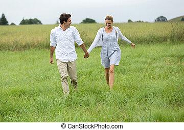 platteland, rennende , paar, jonge
