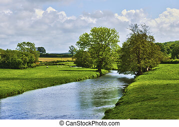 platteland, rivier, engelse
