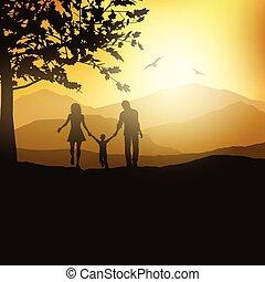 platteland, wandelende, gezin