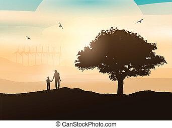 platteland, wandelende, vader, zoon