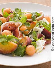 Platter of Cantaloupe Melon Parma Ham Mozzarella Cheese and...