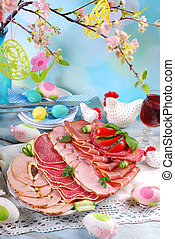 platter of cured meat,ham and salami on eater table