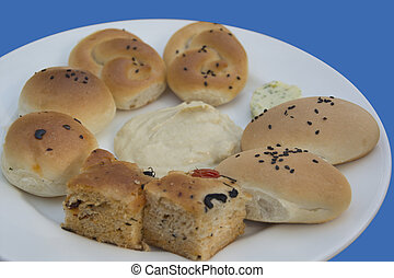 Platter of Hummus, Bread and Butter - A Platter with an...