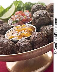 Platter of Kofta Balls with Mango Chutney and Tomato Relish