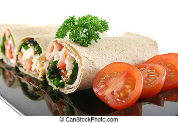 Platter Of Mixed Wraps - Mixed platter of delicious ham and...