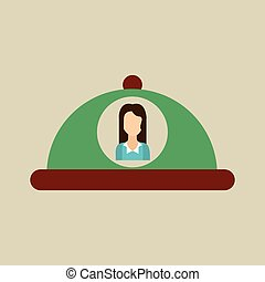 platter serving food icon woman