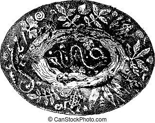Platter, vintage engraving.