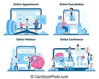 plattform, neurologen, eller, läkare, undersöka, set., service, mänsklig, direkt