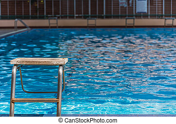 plattform, time., tom, dag, slå samman, simning